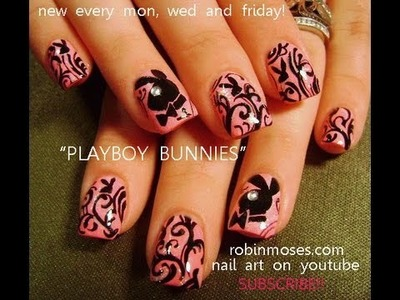 Nail Art Design | DIY Playboy Bunny Nails | Pink and Black Filigree Tutorial