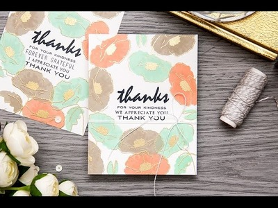 One layer Thank You cards with Painted Poppy from Altenew