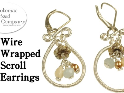 Wire Wrapped Scroll Earrings