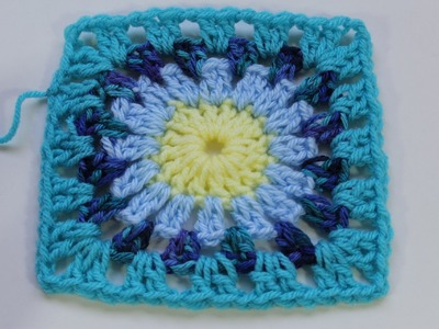 #Crochet Granny Square with Round Center (Subtitulos en Espanol)