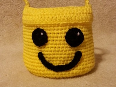 #Crochet Lego Man Bucket for Lego Storage #TUTORIAL DIY CROCHET CUSTOM BAG FREE PATTERN