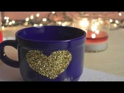 D.I.Y Glitter Mug | Organization Ideas