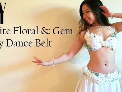 DIY White Floral & Gem Belly Dance Belt