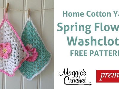 Home Cotton Flower Dishcloth Free Crochet Pattern - Right Handed