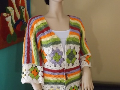 How To Crochet A Granny Square Cardigan Part 1