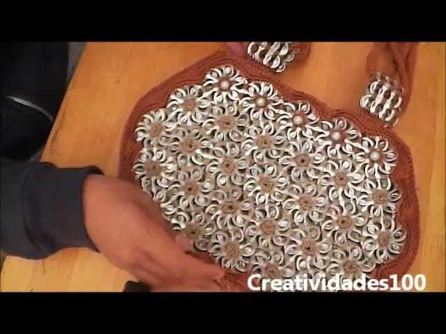 "How to crochet a handbag with soda pop tabs: ""Queta Purse"" part 5"