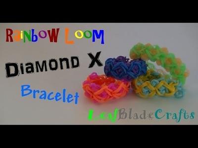 How to Diamond X Rainbow Loom Bracelet DIY Tutorial ONE LOOM