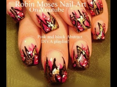 Nail Art Design | DIY Abstract Pink and Gold Foil | Fierce Nails Tutorial