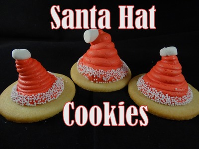 Santa Hat Cookies-Marshmallow Buttercream Recipe -with yoyomax12