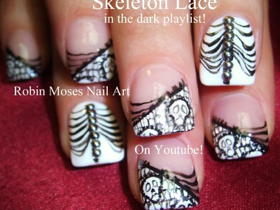 2 Nail Art Tutorials | DIY Halloween Nails | Skeleton Lace Nail Design & Blinged out Ribs