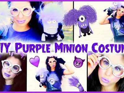 DIY Evil Purple Minion Costume, Makeup & Hair Halloween Tutorial!
