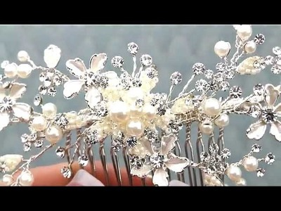 Romantic Beaded Bridal Comb in Silver & Gold by www.HairComestheBride.com