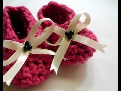 Crochet Tutorial - How To Crochet Easy Baby Booties