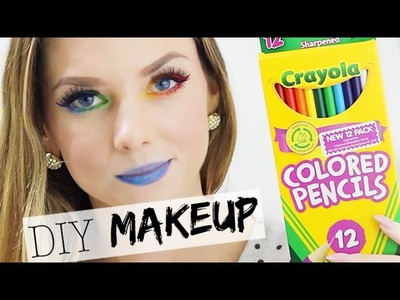 DIY Eyeliner & Lipstick with Coloured Pencils - DIY Rainbow Makeup
