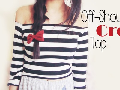 DIY ✂ Off shoulder Stripey Crop Top