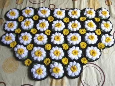 How to Crochet a Daisy Rug Tutorial 1 - Left Handed Crochet Tutorial