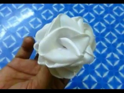 Ribbon rose tutorial - How to make a ribbon rose in less time easily - Flower making
