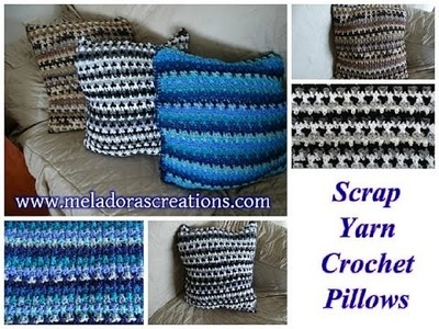 Scrap Yarn Crochet Pillow - Left Handed Crochet Tutorial