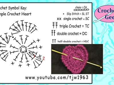 Simple Crochet Heart - Slow Motion Crochet Geek