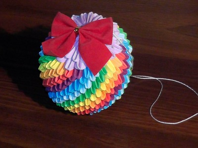 3D origami Christmas bauble rainbow tutorial