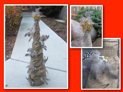 Burlap Feather Christmas Tree Craft
