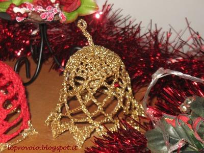 Campanella natalizia all'uncinetto.Campana navideña de ganchillo,Crochet Christmas Bell SUB ES-EN