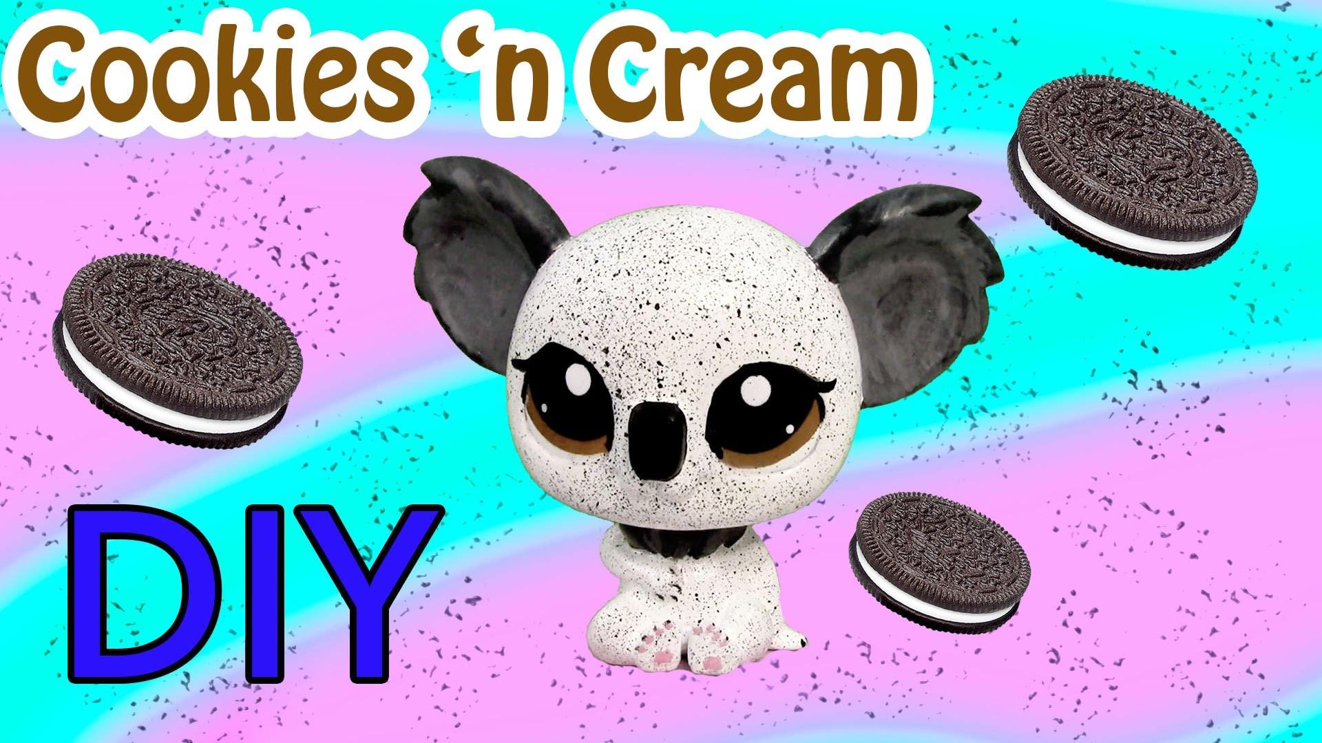 Custom LPS Koala Oreo Cookies And Cream Inspired DIY Littlest Pet Shop