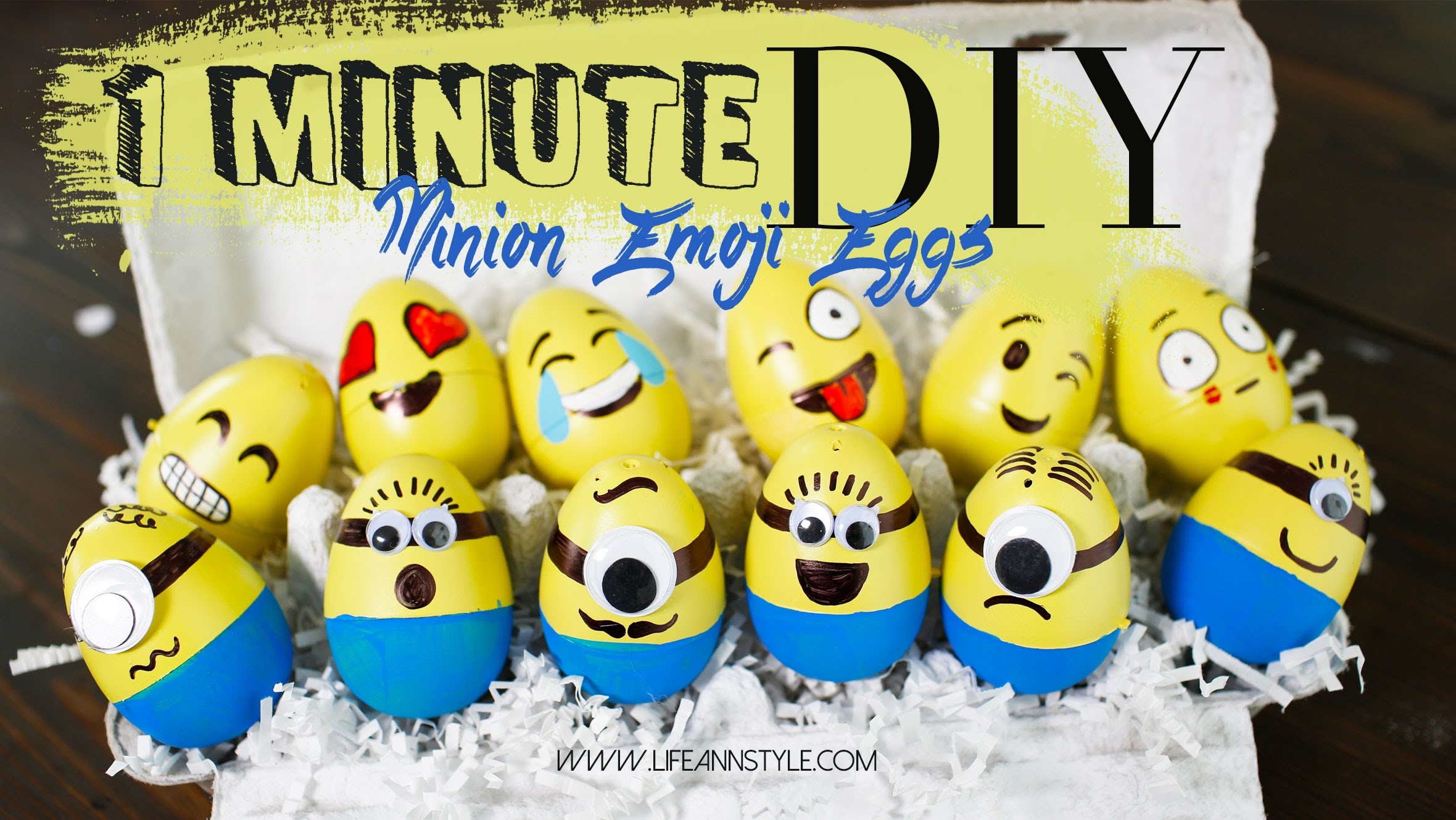DIY Minion Emoji Decorated Eggs | 1 Minute DIY  | ANNEORSHINE