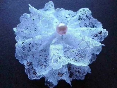 LACE FABRIC FLOWER NUMBER 4 BY CARLITTO, diy, how to make