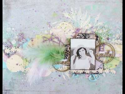 Soft colored mixed media layout Panpastel background and home depot colorsamples.