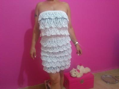 White Raffle Crochet Dress