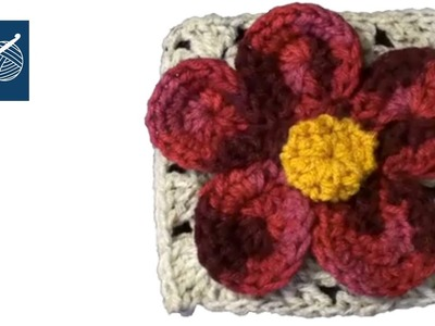 CROCHET GRANNY SQUARE with Flower Julia  Left Hand Version - CROCHET GEEK