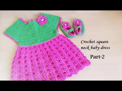 CROCHET SQUARE NECK BABY DRESS-2