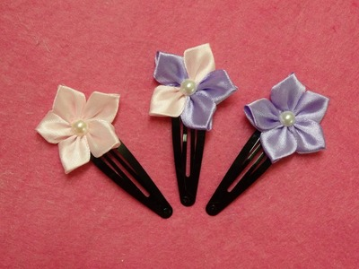 DIY kanzashi flower hairclips,ribbon flowers tutorial,how to make,kanzashi flores de cinta