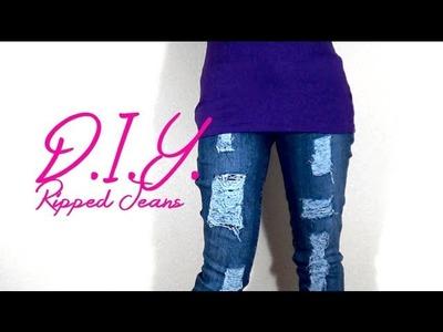 DIY ripped skinny jeans w. a box cutter | Nik Scott