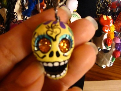 Finished Handmade Clay Sugar Skull Jewelry Necklaces Arts and Crafts Handmade Arte De Mi Familia
