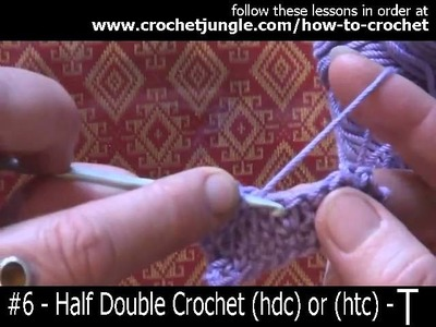 How to do a half double crochet stitch (hdc) - tutorial #6 LEFT HANDED