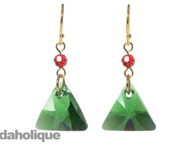 How to Make SWAROVSKI ELEMENTS Triangle Pendant Christmas Earrings