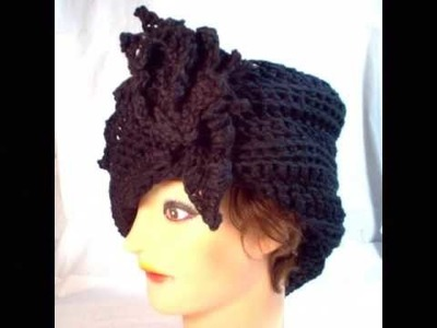 LAUREN Unique Crochet Cloche Hat with Flower in Black Cotton