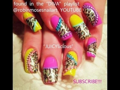 Nail Art | DIY Neon Leopard Print on Foil with Diamonds | Diva