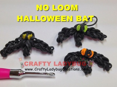 Rainbow Loom Bands NO LOOM HALLOWEEN BAT EASY Charm Tutorials How to Make by Crafty Ladybug