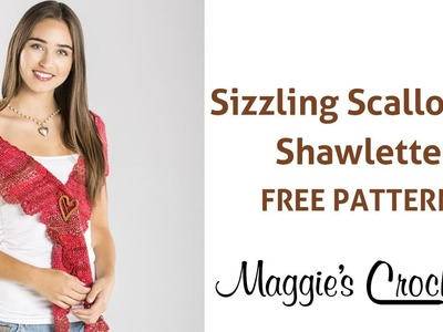 Sizzling Scalloped Shawlette Free Crochet Pattern - Right Handed
