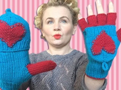 THE LOVE GLOVES - Knitted Appliqued Heart Gloves With Individual Fingers & Flaps.