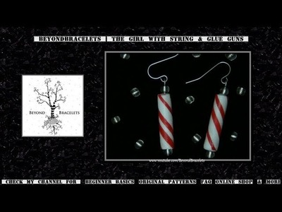■ Candy Cane Earrings - Paper Beads