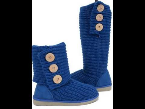 Gets Detail Of Fold-over Crochet Slouchy Knit Sweater Button Flat Boot Blue New in 2015