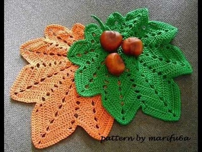 How to crochet hot pad,doily autumn leaf pattern for beginner