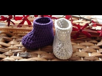 How to Crochet Newborn Booties 2nd Round by Crochet Hooks You