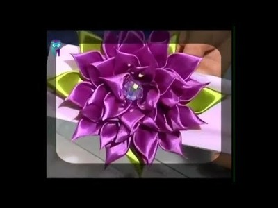Kanzashi flower tutorial. Study the main working methods. Diy. Handmade