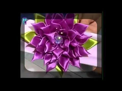 Kanzashi flower tutorial. Study the main working methods. Diy. Handmade