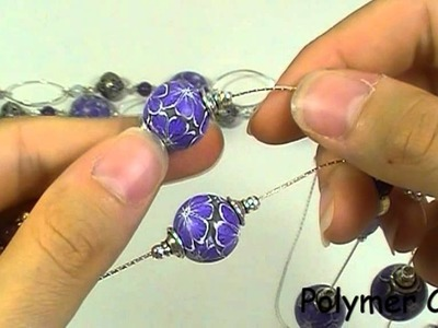 Violet Flower (polymer clay beads)